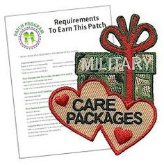 Military Care Packages Patch Program. Preparing care packages for the military is a great community service project for Girl Scouts. Remember the work your girls put into this project with a fun patch. Download our suggested requirements.  Patches and free download available at MakingFriends.com