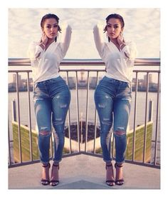 blouse jeans ripped white ripped jeans outfit shoes high heels heels