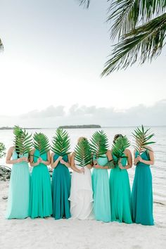 Tropical Destination Wedding in Key Largo These mix matched beach bridesmaid dresses are gorgeous!These mix matched beach bridesmaid dresses are gorgeous! Beach Wedding Bridesmaid Dresses, Beach Wedding Bridesmaids, Beach Wedding Colors, Beach Wedding Decorations, Beach Weddings, Destination Weddings, Colorful Bridesmaid Dresses, Romantic Weddings, Turquoise Wedding Flowers