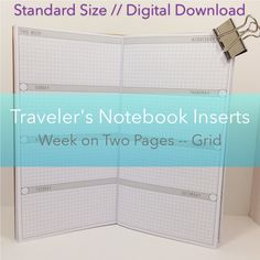 Week on Two Pages -- Grid {Standard Size} Printable Travelers Notebook Insert Booklet // Monday Start