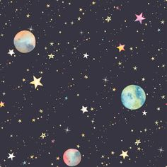 Colorful Stars and Planets Wallpaper - 25W x 225H