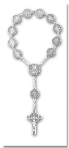 """Single Decade Rosary made of 12mm Sterling Silver St. Benedict Medals with Sterling Center and 1-3/4"""" Sterling Crucifix"""
