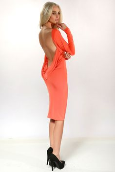 Savee Couture Sexy Open Cowl Back Dress in Orange