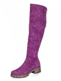 Čižmy nad kolená na platforme BARSA slivka Knee Boots, Heeled Boots, Platform, Heels, Fashion, High Heel Boots, Heel, Moda, Heel Boots