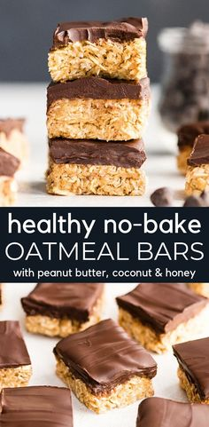 These No-Bake Oatmeal Bars with Peanut Butter & Coconut are the ultimate easy no-bake healthy dessert or snack! They are made in 5 minutes with 7 ingredients  and are gluten and dairy-free! Plus they have no refined sugar and are vegan-friendly! Bon Dessert, Paleo Dessert, Healthy Dessert Recipes, Gluten Free Desserts, Gourmet Recipes, Delicious Desserts, Snack Recipes, Coconut Recipes Healthy, Appetizer Dessert