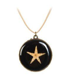 Deniz Yıldızı Kolye - Kahverengi Deri İpli