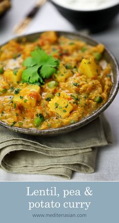 Lentil, pea and potato curry Lentil Recipes, Veg Recipes, Curry Recipes, Indian Food Recipes, Whole Food Recipes, Vegetarian Recipes, Cooking Recipes, Healthy Recipes, Indian Potato Recipes