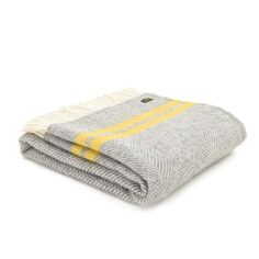 Tweedmill Pure New Wool Fishbone 2 Stripe Knee Lap Blanket - Grey/Yellow Large Throws For Sofas, Large Blankets, Knitted Blankets, Yellow Throw Blanket, Lap Blanket, Wool Blanket, Picnic Blanket, Yellow Stripes, Grey Yellow