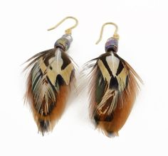 Short feather earrings - Real feather jewelry - Neutral colors - Pheasant feather earrings - Cruelty free feathers