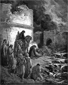 art of bible characters | Nehemiah Viewing Secretly the Ruins of the Walls of Jerusalem