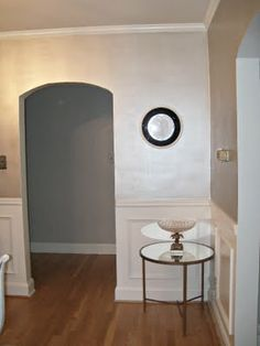 "This is not a room in my home but it demonstrates the silver color I have chosen.  Valspar ""Simple Shimmer"" is a pearlescent silver which will go on the ceiling, trim, and serve as the accent color on the wall stencil."
