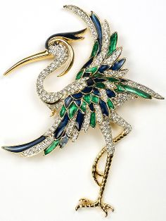 D'Orlan (after Boucher) Gold Pave and Metallic Enamel Heron Bird Pin