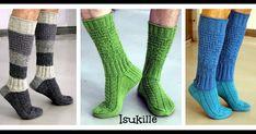 Lähestyvä isänpäivä inspiroi kehittelemään sukan, jonka pintaneuleet pystyy neulomaan oikeilla ja nurjilla silmukoilla ilman muuta kikkai... Knitting Socks, Leg Warmers, Mittens, Knit Crochet, Crochet Patterns, Clothes, Scarfs, Pdf, Chart