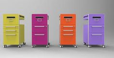 Bite storage shown in fun colors. Desk Storage, Office Storage, Cool Office, Office Furniture, Filing Cabinet, North America, Home Decor, Pedestal, Stationary