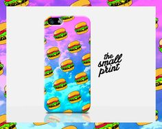 Fun cartoon Cheese Burger pattern Apple iPhone 6 cell phone case! This slim hard protective case would make a really cool gift for anyone with