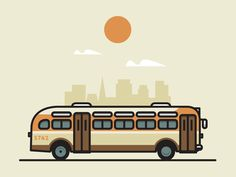 Vintage Graphic Design Vintage Bus by Jesus This is the style I am going for. - A spot illustration. Would love some feedback! Flat Design Illustration, Line Illustration, Illustrations, Digital Illustration, Line Design, Icon Design, Bus Pass, City Icon, Vintage Graphic Design