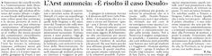 """SCRIVOQUANDOVOGLIO: L'ARST ANNUNCIA """"E' RISOLTO IL CASO DESULO"""" (21/11..."""