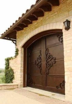 Garage Door - Wrought Iron Doors, Windows, Gates, & Railings from Cantera Doors LOVE the doors - VL Garage House, Diy Garage, Garage Ideas, Custom Garage Doors, Modern Garage Doors, Garage Door Makeover, Garage Plans, Dream Garage, Porte Cochere