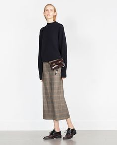 Image 1 of HIGH WAIST CROPPED CHECK TROUSERS from Zara
