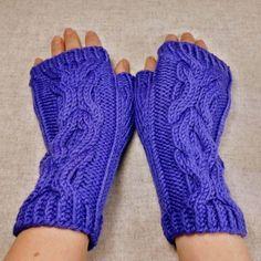 Fingerlose Handschuhe Damen, Biowolle, Lila, Armstulpen Hugs and Kisses  Fingerless gloves, mittens organic, violet