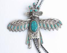 Southwestern Thunderbird Kachina Bolo Tie Faux Turquoise Silver Tone Very Large Vintage