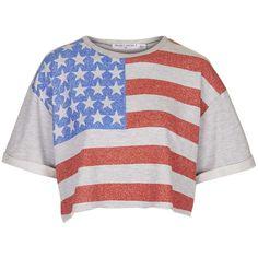 American Flag Sweatshirt by Project Social T ($16) ❤ liked on Polyvore featuring tops, hoodies, sweatshirts, shirts, crop top, blusas, grey, usa flag shirt, gray shirt and topshop shirt