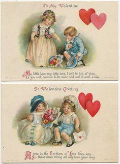 2 Valentine Greeting Cards, Signed Ellen Clapsaddle   eBay