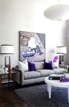 Grey, white & purple living room
