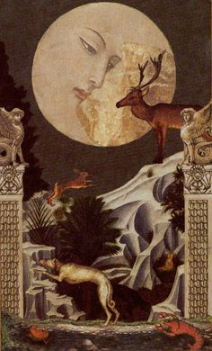 Golden Tarot- XVIII - The Moon My other deck besides my Shadowscapes. Golden Tarot is easier for me to read. The Moon Tarot Card, Tarot Major Arcana, Moon Magic, Oracle Cards, Moon Art, Nocturne, Tarot Decks, Vampires, Fantasy Art