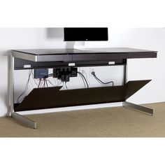 BDI's Sequel Desk in Black- power strip and cord concealing design #office #furniture #desk