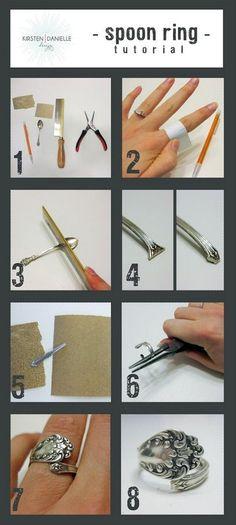Faire une bague avec la queue d'un ustensile en argent ou steanless steel.