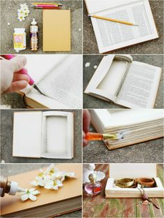 I have 3 of these hollow books! Such a great 'hiding place' for my husband and I when we have our scavenger hunts!  DIY ::  Book Jewelry Box ( link:: sincerelykinsey.b...  )