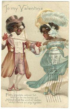 Black Americana Valentine Day postcard