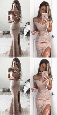 pink lace prom dress mermaid high slit evening dress off the shoulder cocktail dress,HS057 #fashion#promdress#eveningdress#promgowns#cocktaildress