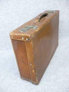 Trunk 【文】6704アンティークトランク革製旅行ディスプレイ インテリア 雑貨 家具 Antique ¥5800yen 〆06月26日