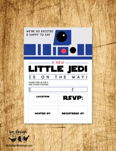 "Star Wars Inspired Baby Shower Invitation. ""A New Little Jedi is on the Way!"" Printable DIY 5x7"" flat card, Fill in the blank. by EveryDarlingDetail on Etsy https://www.etsy.com/listing/262718065/star-wars-inspired-baby-shower"