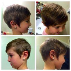 Kids toddler short pixie haircut. Girls asymmetrical hair cut :)