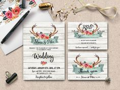 REPIN NOW, check out later! Give your wedding romantic and bohemian chic tone with this watercolor antlers with flowers on cottage chic white wood background Printable Wedding