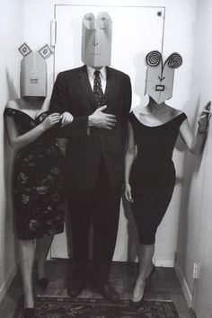 The Mask Series by Saul Steinberg, paper mask on unknown guests. 1959 - 1961, Photograph by Inge Morath