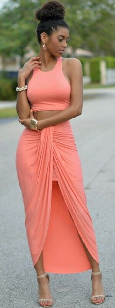 Valerie Peach Draped Two Piece Set / Chic Couture