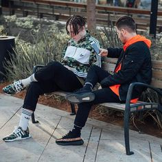 You can't sit with us ✋⛔️ w/ @innobv ___________ Right: Jacket Alpha Industries Windbreaker Perspectives Global Jeans H&M Socks & Sneakers Adidas Left: Jacket Adidas x Bape Pants Zara Socks Adidas Sneakers Adidas x Bape @bornofidan