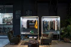 Filling Station Motel Garage and Concept store by Visual Display, Udine – Italy Shops, Filling Station, Concrete Counter, Motorcycle Garage, Visual Display, Entrance Gates, Retail Design, Motel, Vintage Furniture