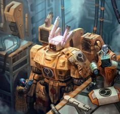 """"""" Repair Bay by Jacob Atienza """" gundam with every Tau battlesuit ; Think again, Tau player! Warhammer 40k Memes, Warhammer 40k Art, Warhammer Fantasy, Empire Tau, Tau Army, Dc Comics, The Grim, Science Fiction, Concept Art"""