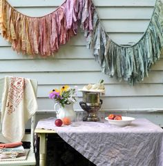 This torn fabric garland would add a memorable touch to a birthday party.