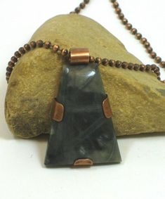 Unisex Picasso Marble Cabochon Hand Crafted Copper Frame Pendant   BDJDesigns - Jewelry on ArtFire
