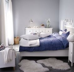 blue grey white bedroom