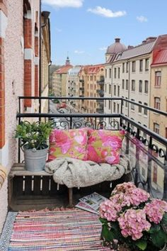 Balcony ideas on a budget... not sure how this would work when it rained but still cute