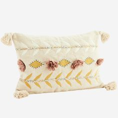 Embroidered cushion cover w/ tassels Embroidered Cushions, Printed Cushions, Seagrass Rug, Moving Furniture, Macrame Tutorial, New Print, Cushion Covers, Tassels, Madam Stoltz