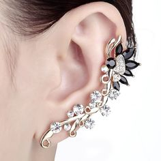 # Gold Plated Crystal Flower Butterfly Ear Cuff Wrap Clip Stud Earring