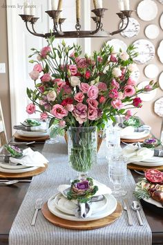 Simple dining room table setting for Thanksgiving with fresh flowers for a centerpiece and faux kale tucked into napkins dinnerware Dining Room Table Centerpieces, A Table, Table Decorations, Ramadan Decorations, Rustic Dinner Tables, Driven By Decor, Beautiful Table Settings, Terracotta, Bunt